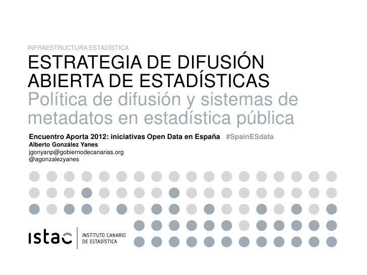 INFRAESTRUCTURA ESTADÍSTICA        ESTRATEGIA DE DIFUSIÓN        ABIERTA DE ESTADÍSTICAS        Política de difusión y sis...