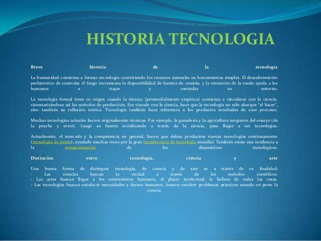 HISTORIA TECNOLOGIABreve                        historia                         de                         la            ...