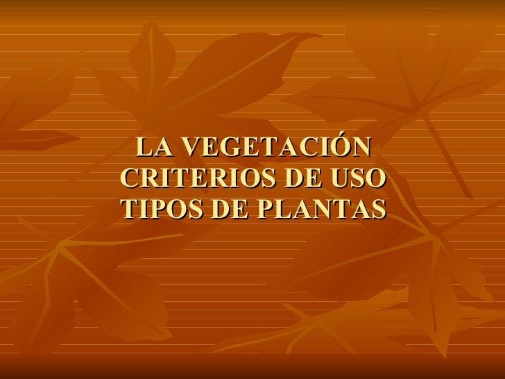 LA VEGETACIÓN CRITERIOS DE USO TIPOS DE PLANTAS