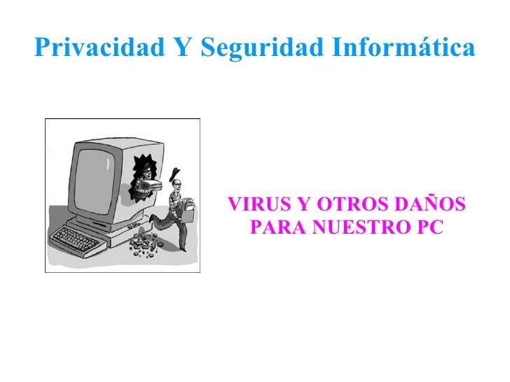 Privacidad Y Seguridad Informática VIRUS Y OTROS DAÑOS PARA NUESTRO PC