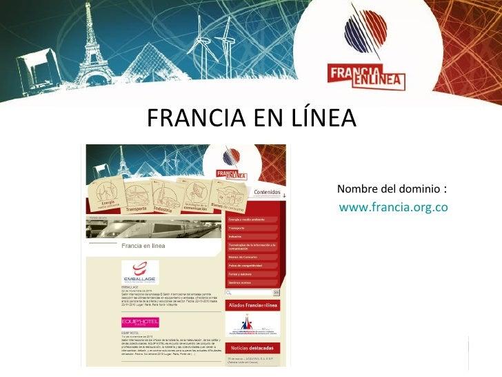 FRANCIA EN LÍNEA <ul><li>Nombre del dominio :  </li></ul><ul><li>www.francia.org.co </li></ul>