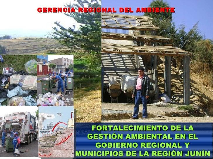 GERENCIA REGIONAL DEL AMBIENTE FORTALECIMIENTO DE LA GESTIÓN AMBIENTAL EN EL GOBIERNO REGIONAL Y MUNICIPIOS DE LA REGIÓN J...