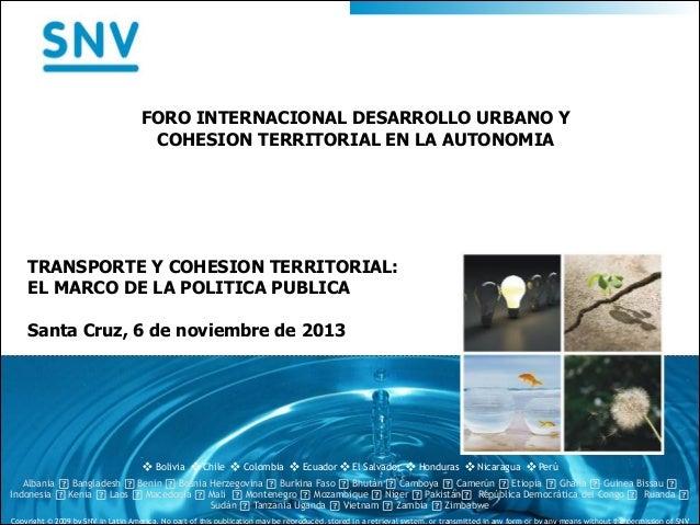 Transporte y cohesión territorial: El marco de una política pública  - Panel VI