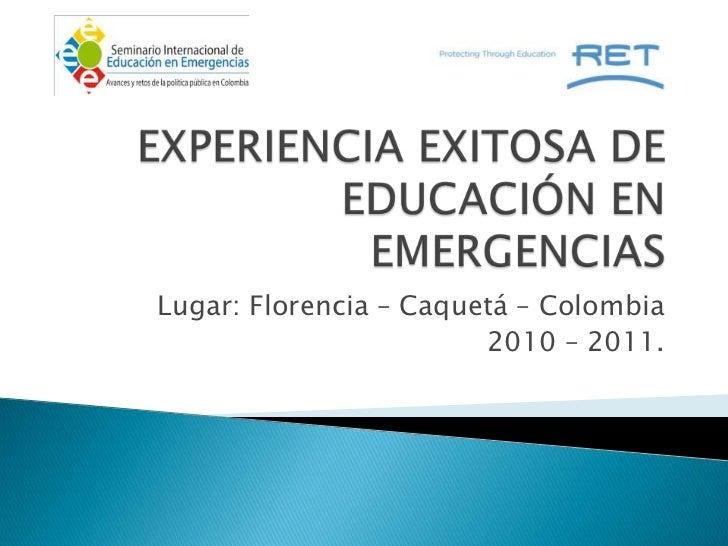 Experiencia Caquetá_ERF_ Refugee Education Trust