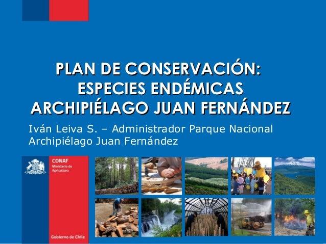 Iván Leiva S. – Administrador Parque NacionalArchipiélago Juan FernándezPLAN DE CONSERVACIÓN:PLAN DE CONSERVACIÓN:ESPECIES...