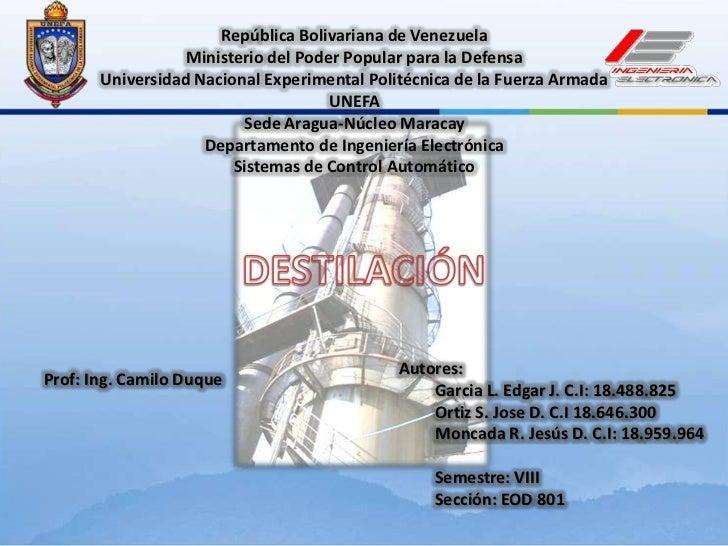 República Bolivariana de Venezuela<br />Ministerio del Poder Popular para la Defensa <br />Universidad Nacional Experiment...