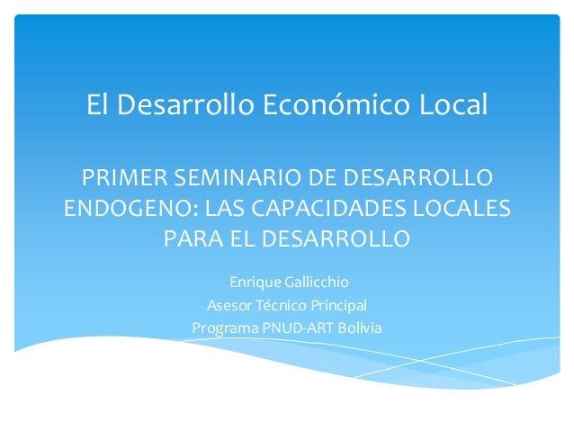 Enrique Gallicchio - El Desarrollo Económico Local