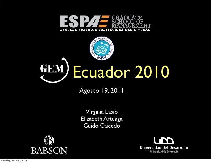 Ecuador 2010                        Agosto 19, 2011                           Virginia Lasio                         Eliza...