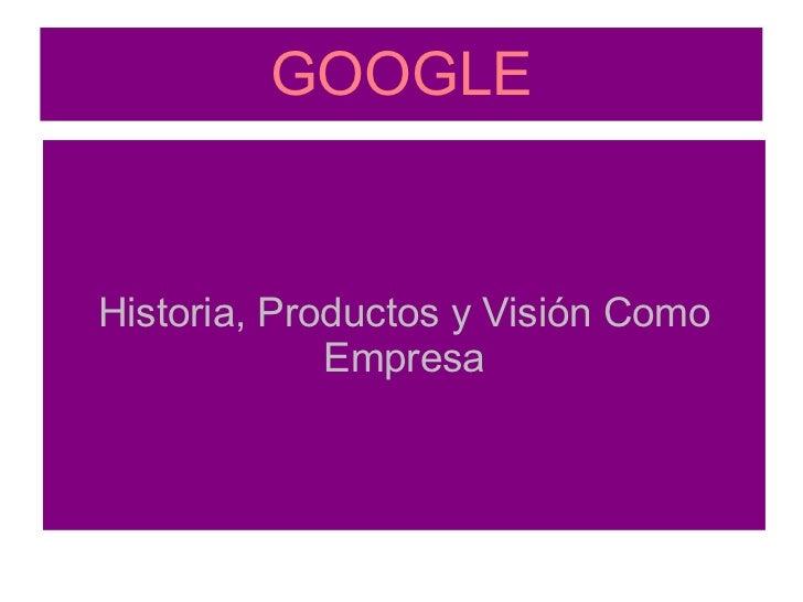 GOOGLE Historia, Productos y Visión Como Empresa