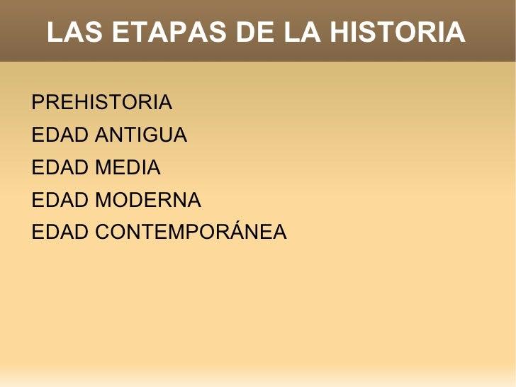 LAS ETAPAS DE LA HISTORIA <ul><li>PREHISTORIA