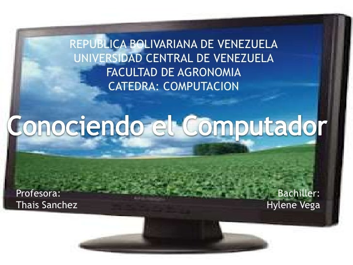 REPUBLICA BOLIVARIANA DE VENEZUELA            UNIVERSIDAD CENTRAL DE VENEZUELA                 FACULTAD DE AGRONOMIA      ...