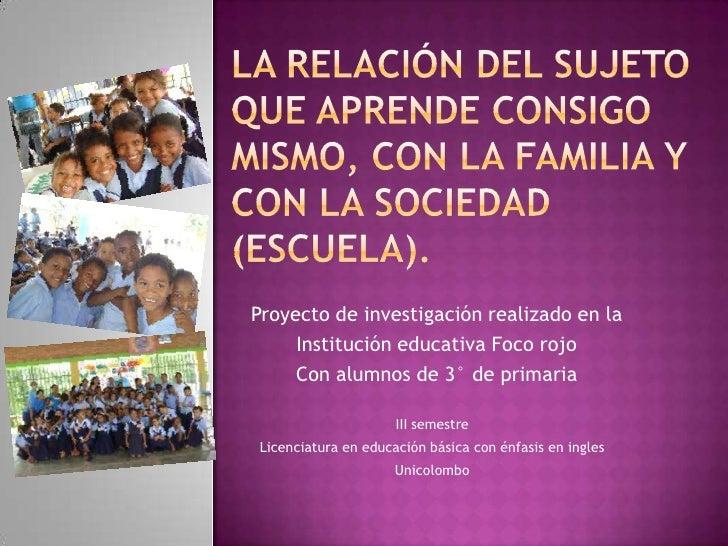 La relación del sujeto que aprende consigo mismo, con la familia y con la sociedad (escuela).<br />Proyecto de investigaci...