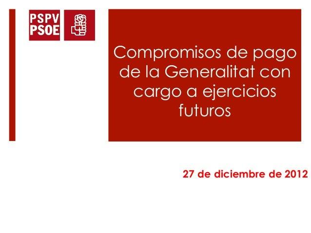 Compromisos de pagode la Generalitat con  cargo a ejercicios       futuros        27 de diciembre de 2012