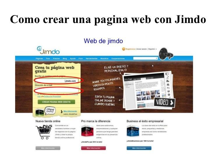 Como crear una pagina web con Jimdo Web de jimdo