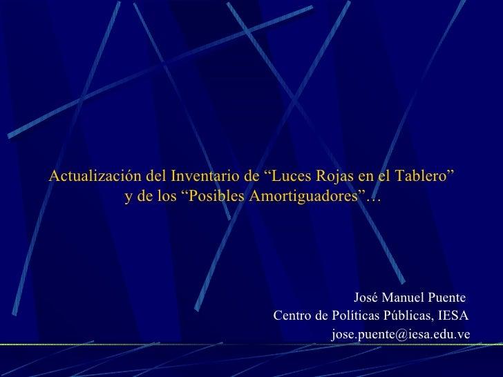 """Actualización del Inventario de """"Luces Rojas en el Tablero""""            y de los """"Posibles Amortiguadores""""…                ..."""