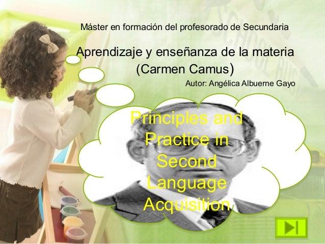 Máster en formación del profesorado de SecundariaAprendizaje y enseñanza de la materia          (Carmen Camus)            ...