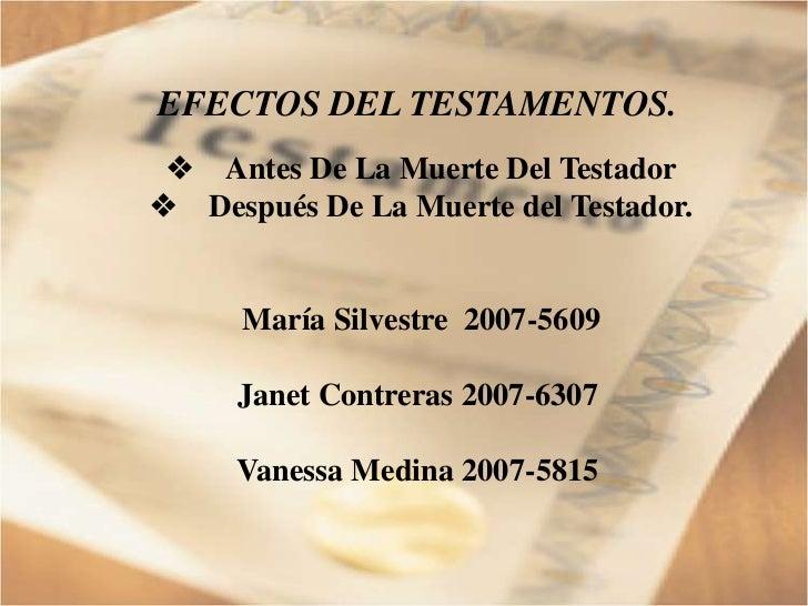 Efecto de los Testamentos