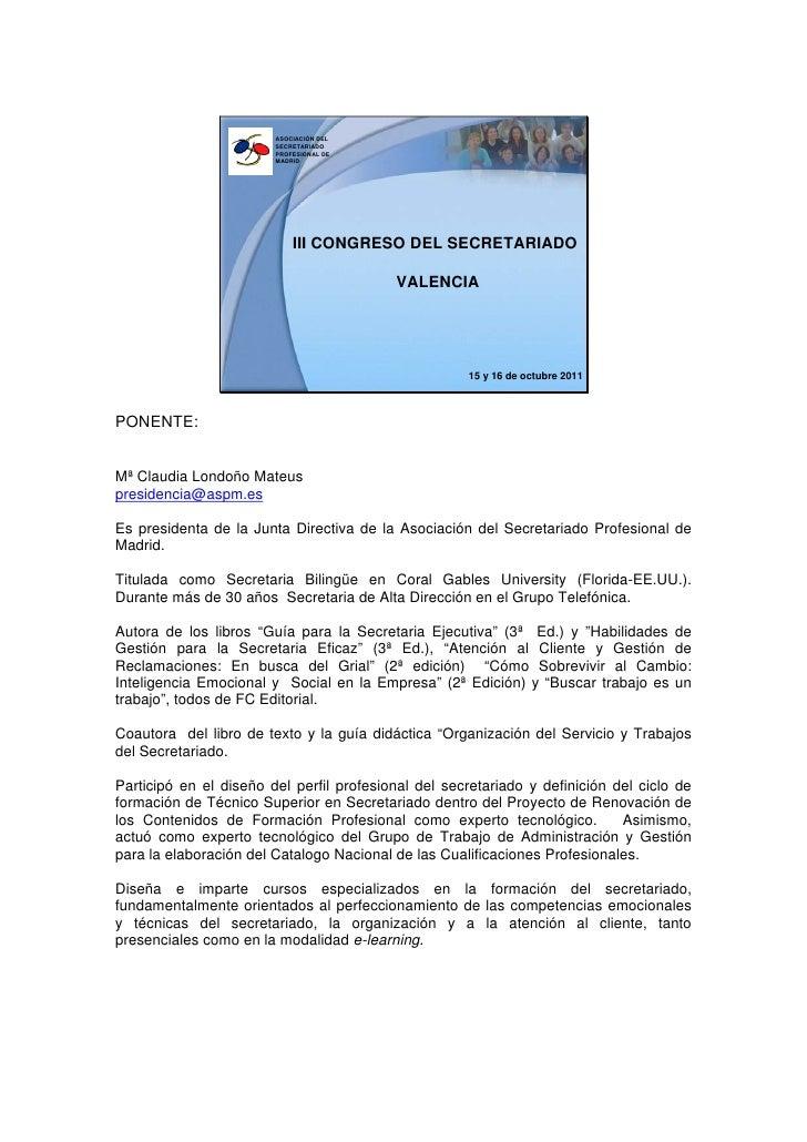 ASOCIACIÓN DEL                        SECRETARIADO                        PROFESIONAL DE                        MADRID    ...