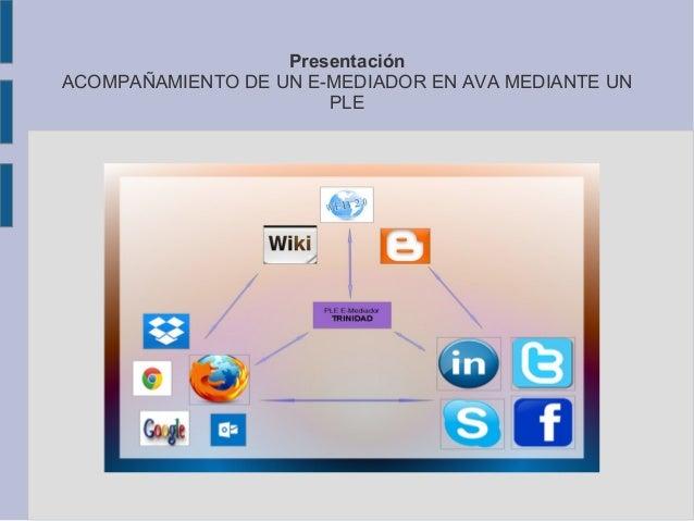 Presentación ACOMPAÑAMIENTO DE UN E-MEDIADOR EN AVA MEDIANTE UN PLE