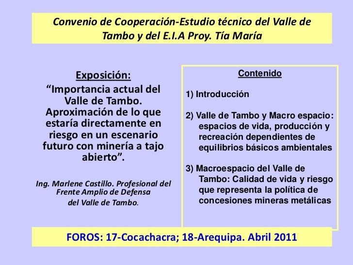 Convenio de Cooperación-Estudio técnico del Valle de Tambo y del E.I.A Proy. Tía María<br />Contenido<br />1) Introducción...
