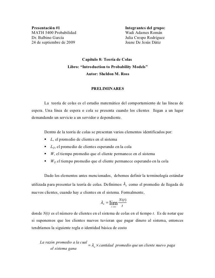 Presentacion: TEORIA DE COLAS