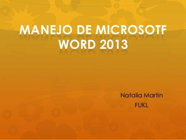 Presentación manejo basico de word 2013