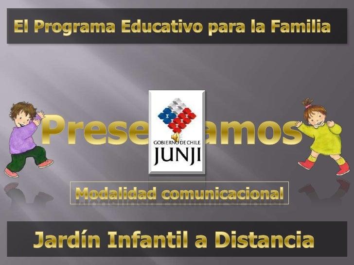 El Programa Educativo para la Familia<br />Presentamos<br />Modalidad comunicacional<br />Jardín Infantil a Distancia<br />