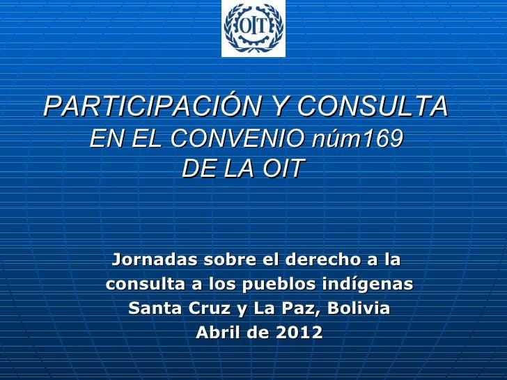 PARTICIPACIÓN Y CONSULTA  EN EL CONVENIO núm169         DE LA OIT    Jornadas sobre el derecho a la   consulta a los puebl...
