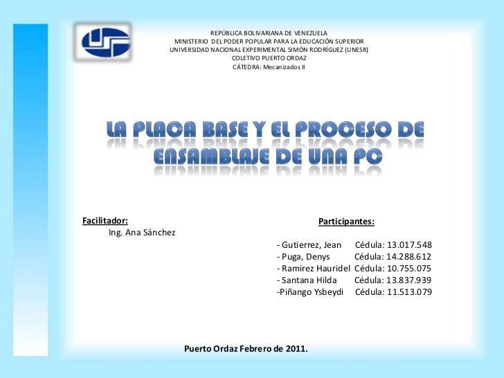 REPÚBLICA BOLIVARIANA DE VENEZUELA<br />MINISTERIO  DEL PODER POPULAR PARA LA EDUCACIÓN SUPERIOR<br />UNIVERSIDAD NACIONAL...