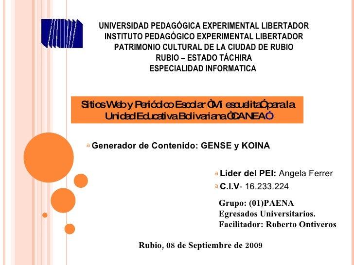 Presentaciòn de los generadores Gensy Y Koina