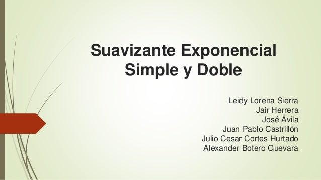 Suavizante Exponencial  Simple y Doble  Leidy Lorena Sierra  Jair Herrera  José Ávila  Juan Pablo Castrillón  Julio Cesar ...