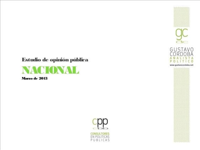 Estudio de opinión públicaNACIONALMarzo de 2013