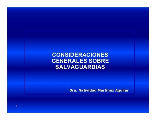 11 Dra. Natividad Martínez AguilarDra. Natividad Martínez Aguilar CONSIDERACIONES GENERALES SOBRE SALVAGUARDIAS