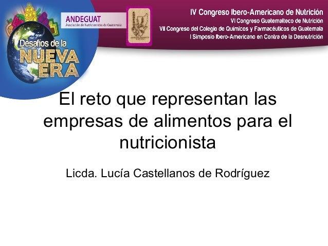 El reto que representan las empresas de alimentos para el nutricionista Licda. Lucía Castellanos de Rodríguez