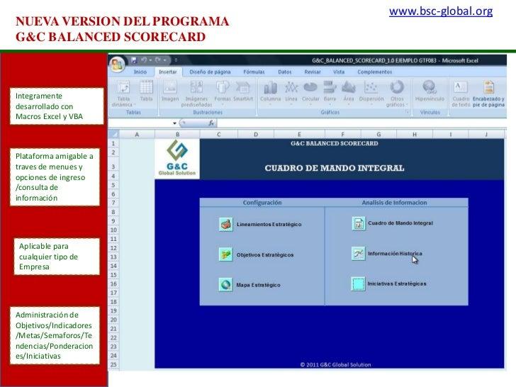 www.bsc-global.org<br />NUEVA VERSION DEL PROGRAMA  G&C BALANCED SCORECARD<br />Integramente desarrollado con Macros Excel...