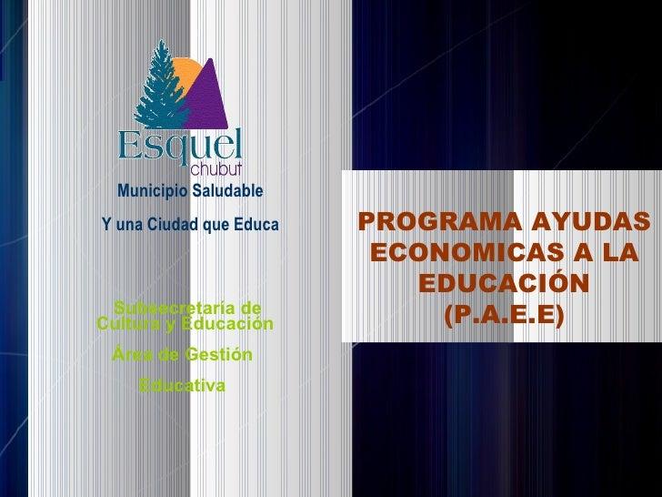 Subsecretaría de Cultura y Educación Área de Gestión  Educativa  PROGRAMA AYUDAS ECONOMICAS A LA EDUCACIÓN (P.A.E.E) Munic...