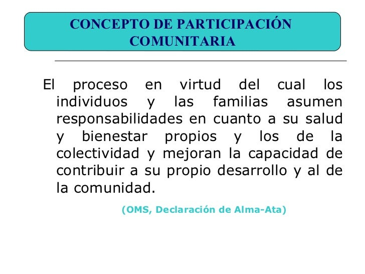 Presentacion participacion comunitaria for Concepto de familia pdf
