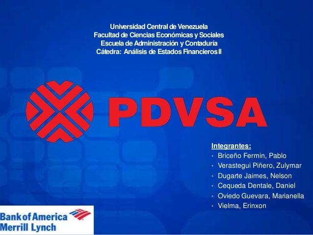 Universidad Central de Venezuela Facultadde Ciencias Económicasy Sociales EscueladeAdministración y Contaduría Cátedra: An...