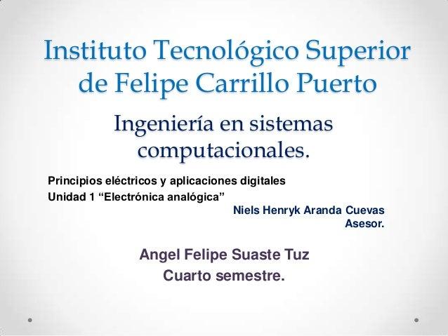 Instituto Tecnológico Superior de Felipe Carrillo Puerto Ingeniería en sistemas computacionales. Principios eléctricos y a...