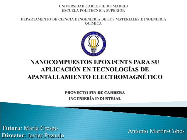 Epoxi/CNTs nanocomposites for EMI shielding applications - Final Year Project presentation