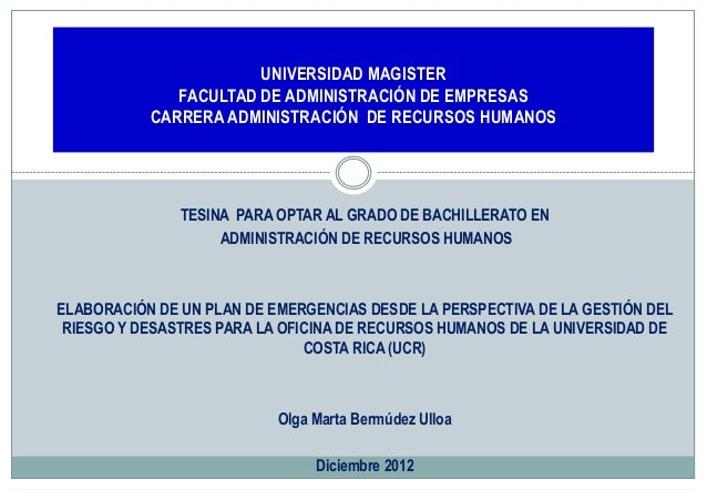 UNIVERSIDAD MAGISTER FACULTAD DE ADMINISTRACIÓN DE EMPRESAS CARRERA ADMINISTRACIÓN DE RECURSOS HUMANOS  TESINA PARA OPTAR ...