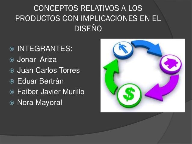 CONCEPTOS RELATIVOS A LOS PRODUCTOS CON IMPLICACIONES EN EL DISEÑO  INTEGRANTES:  Jonar Ariza  Juan Carlos Torres  Edu...