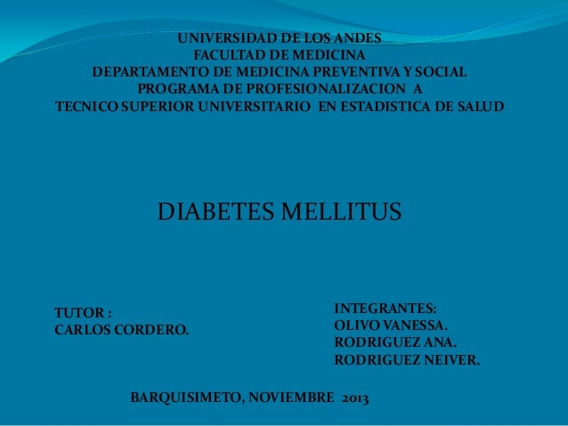 UNIVERSIDAD DE LOS ANDES FACULTAD DE MEDICINA DEPARTAMENTO DE MEDICINA PREVENTIVA Y SOCIAL PROGRAMA DE PROFESIONALIZACION ...
