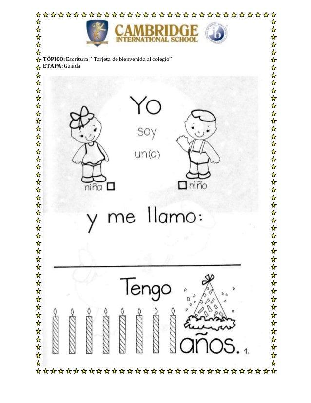 Tarjetas de bienvenida for Cancion de bienvenida al jardin