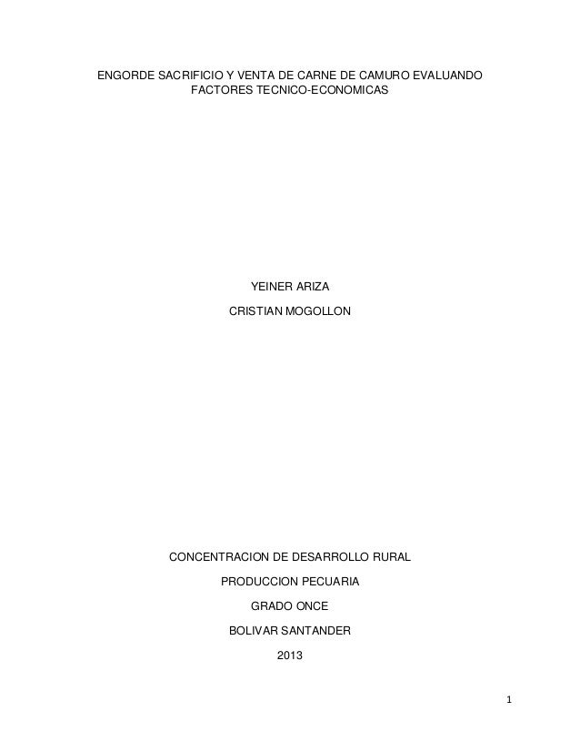 ENGORDE SACRIFICIO Y VENTA DE CARNE DE CAMURO EVALUANDO FACTORES TECNICO-ECONOMICAS  YEINER ARIZA CRISTIAN MOGOLLON  CONCE...