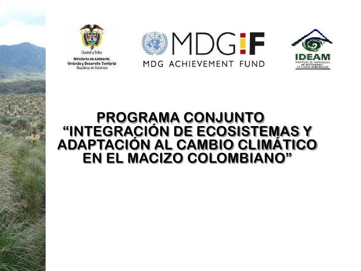 """PROGRAMA CONJUNTO  """"INTEGRACIÓN DE ECOSISTEMAS Y ADAPTACIÓN AL CAMBIO CLIMÁTICO     EN EL MACIZO COLOMBIANO"""""""