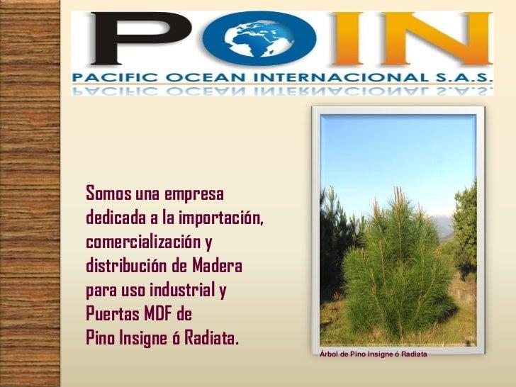 Somos una empresadedicada a la importación,comercialización ydistribución de Maderapara uso industrial yPuertas MDF dePino...