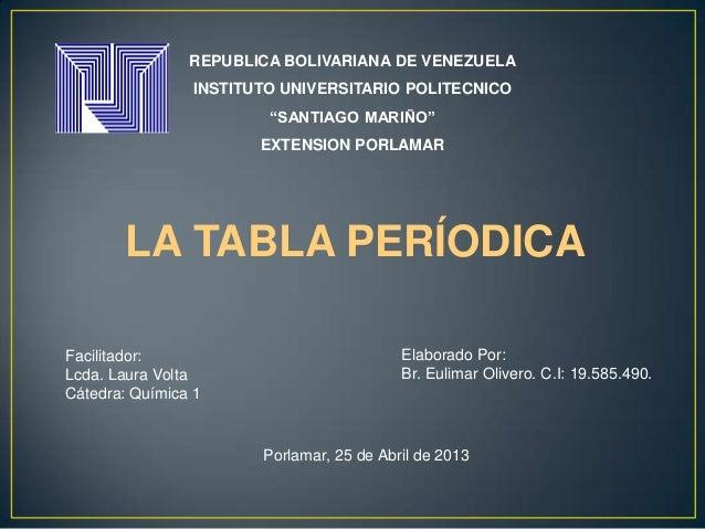 """REPUBLICA BOLIVARIANA DE VENEZUELAINSTITUTO UNIVERSITARIO POLITECNICO""""SANTIAGO MARIÑO""""EXTENSION PORLAMARLA TABLA PERÍODICA..."""