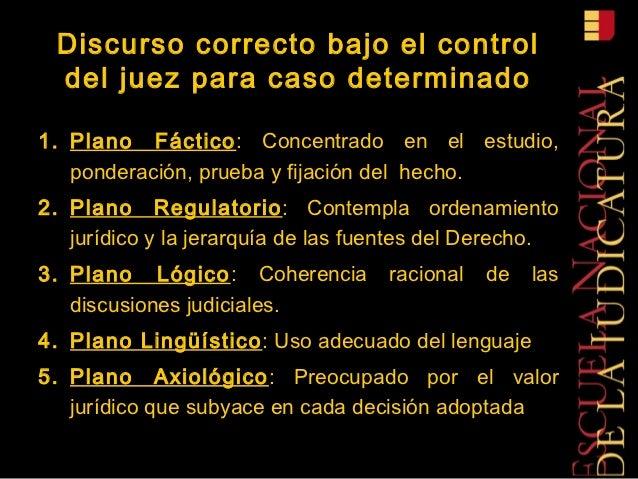 Discurso correcto bajo el control del juez para caso determinado1. Plano Fáctico: Concentrado en el estudio,   ponderación...