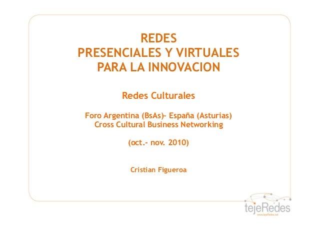 REDES PRESENCIALES Y VIRTUALES PARA LA INNOVACION Redes Culturales Foro Argentina (BsAs)– España (Asturias) Cross Cultural...